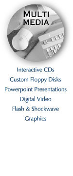 interactive cds, custom floppy disks, powerpoint presenations, digital video, flash and shockwave, graphics, virtual reality tours